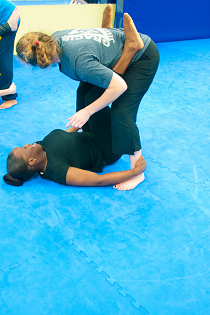 Double Ankle Grab Sweep Women's Self-Defense Class at Bartman MMA